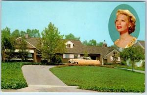 Beverly Hills CA Postcard RESIDENCE OF DINAH SHORE Singer TV Star 1950s Chrome