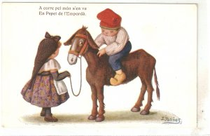 J.Ibañez. Catalan couple.  Horse. Cariccature Humorous Spanish PC 1920s