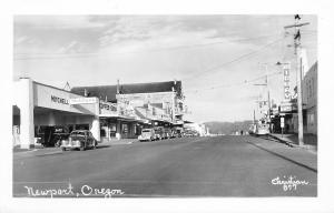 Newport Oregon~Mitchell Mobilgas~Cafe~Bakery~Midway Theater~1940s Cars~RPPC