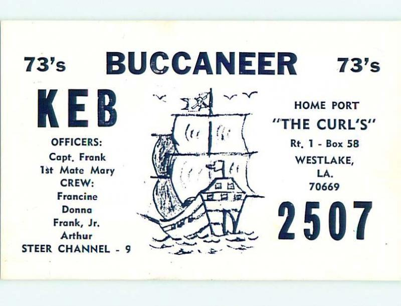 Pirate Ship Sail Boat - Qsl Cb Ham Radio Card Westlake