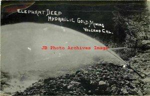 CA, Volcano, California, RPPC, Elephant Deep Hydraulic Gold Mine, Mining, Photo
