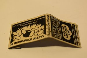Hyde Park Recreations Bowling 20 Strike Matchbook Cover