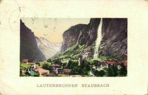 switzerland, LAUTERBRUNNEN, Staubbach (1912) Postcard