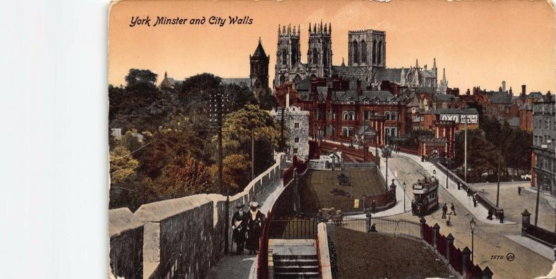Vintage Hand Coloured c1900's Postcard YORK Minster and City Walls TRAM