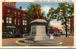 Maine Portland Longfellow Square With Longfellow Monument 1947 Curteich