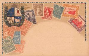 Uruguay Stamp Card and Crest Antique Postcard J55702