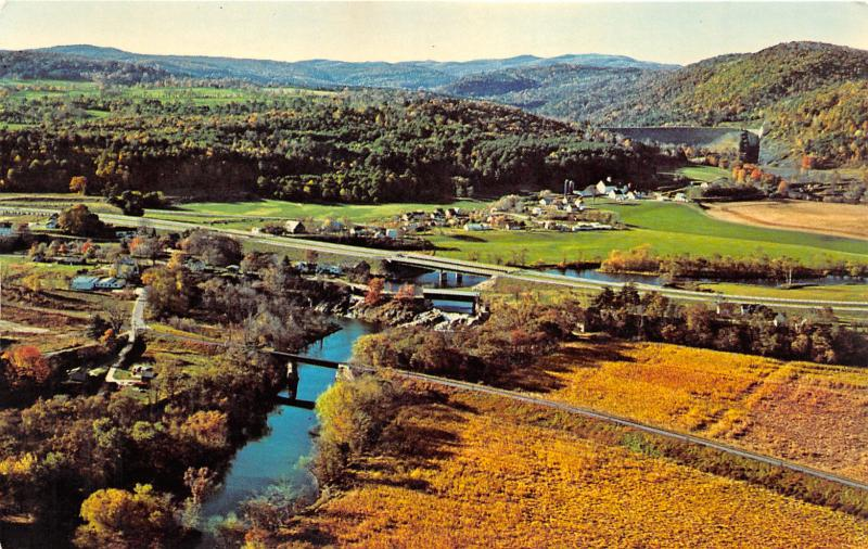 North Harland Vermont~Aerial View~Railroad Bridge-Covered Bridge~Dam~1960s Pc