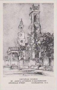 South Carolina Charleston Unitarian Church St Johns Lutheran In Background Ar...