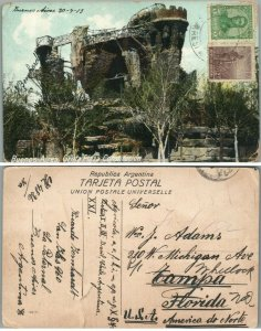 BUENOS-AIRES ARGENTINA GRUTA PLAZA CONSTRUCTION 1913 ANTIQUE POSTCARD w/ STAMPS