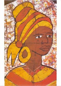 B95634 batikmotiv fran gambia africa postcard types folklore costumes