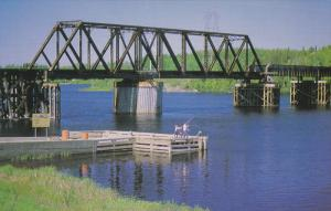 C.N. Bridge, Fishing in Thompson River, VAL D´OR, Quebec, Canada, 50-70´s