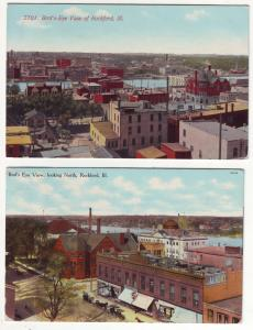 P395 JL 2 old postcard birdseye view rockford ill.