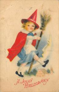 Clapsaddle Halloween~Red Witch Girl on Broomstick~Cresccent Moon Man~1919 Wolf
