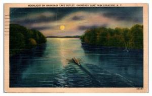 Moonlight on Onondaga Lake Outlet, Syracuse, NY Postcard