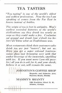 Advertising Post Card Johnston's Coffee Shop Mammy's Shanty, Atlant...