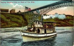 1910 POSTCARD MAID OF THE MIST LANDING & STEEL ARCH BRIDGE NIAGARA FALLS