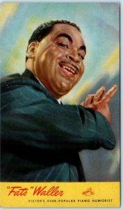 RCA VICTOR Advertising Postcard FATS WALLER Piano Humorist Black Americana 1940s