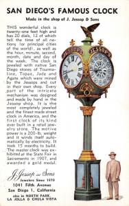 San Diego California~Jessop & Sons Jewelers Jessop's Clock~1907 Winner @ Fair