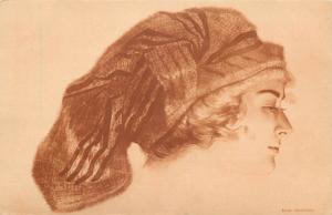 Art Nouveau MAX BRUNING - portrait woman wimpel