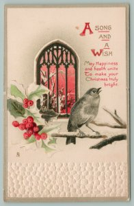 Christmas~Bird Sings On Branch~Holly~Arched Church Window To Red Sky~Emboss~TUCK