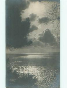 rppc 1920's SUNSET ON THE WATER AC8666