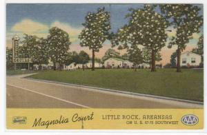 Magnolia Court Motel Little Rock Arkansas 1953 linen postcard