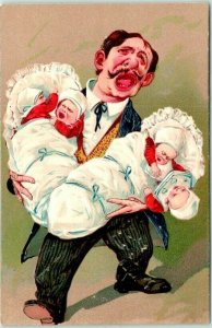 1910s PFB Embossed Postcard Father with 4 Crying Babies Series 5671 UNUSED