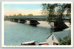 Springfield MA~Old Covered Toll Bridge over Connecticut River~Houseboat~1917