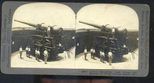 REAL PHOTO FORTRESS MONROE VIRGINIA ARTILLERY GUNS STEREOVIEW CARD WWI