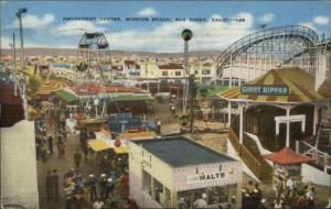 San Diego CA Mission Beach Amusement Center Linen Postcard