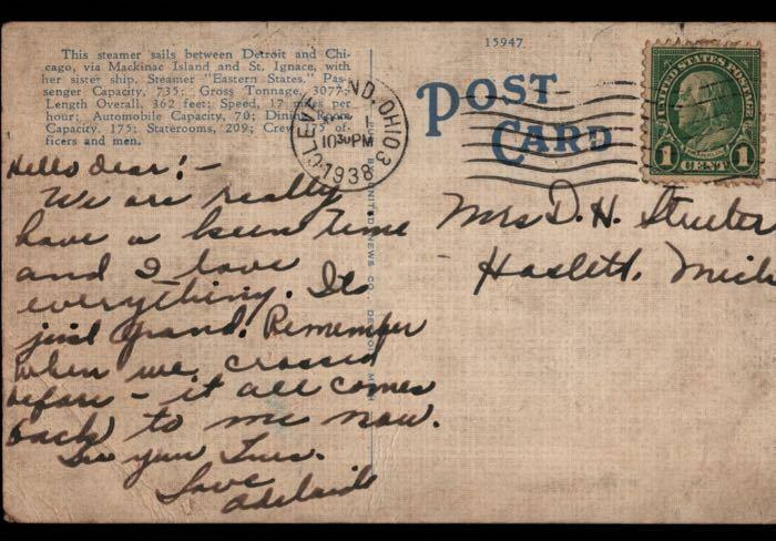 Cleveland OH Haslett Western States Steamer Steam Ship Vintage Postcard B02