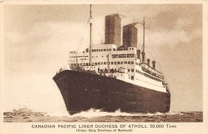 Duchess of Atholl Canadian Pacific Line Ship Unused