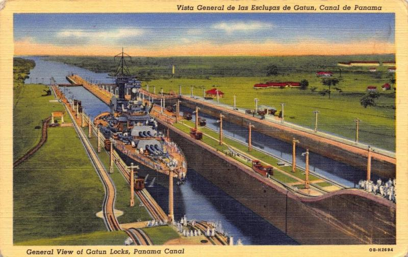 Linen Postcard 1940's General view of Gatun Locks Navy Warship in Panama Canal