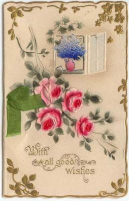 Victorian Christmas Greeting Card, Roses, Poem