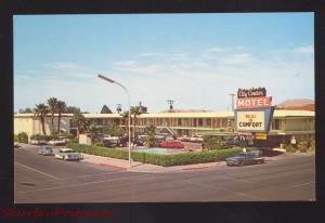 LAS VEGAS NEVADA CITY CENTER MOTEL 1950's CARS VINTAGE ADVERTISING POSTCARD