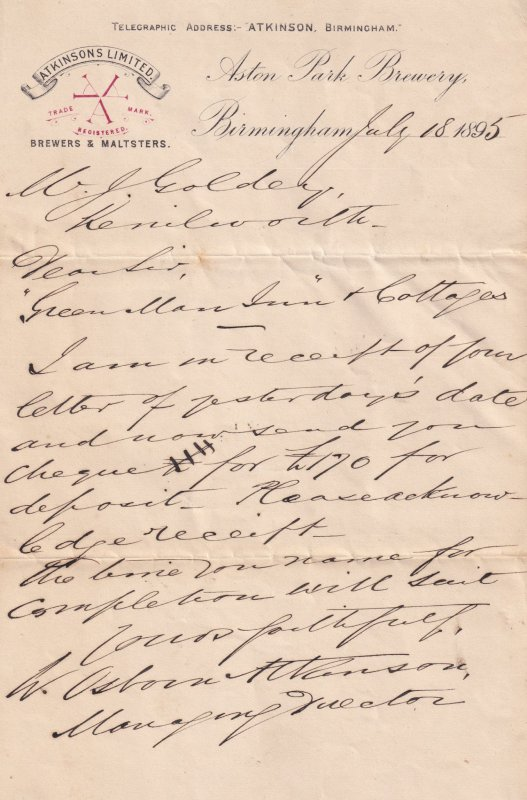 Aston Park Brewery Birmingham MD Victorian 1895 Hand Signed Letter