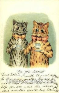 Artist Louis Wain Cat 1905 writing on front, postal used 1905