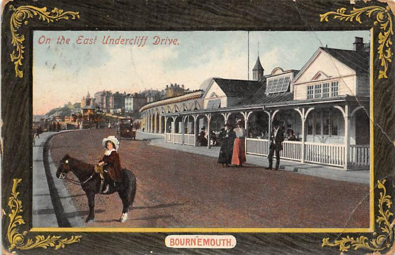 England Bournemouth, On the East Undercliff Drive, Girl, Horse, Car 1910