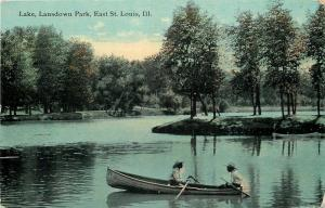 East St Louis IL Lansdown Park Lake~Man Sits on End of Rowboat~Island c1911 PC