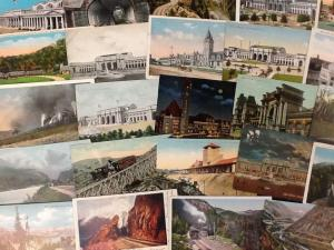 Group of 34 Rail Road Trains Scenic Views Antique Postcards (J32491)