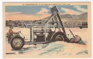 Salt Harvester Salt Beds Great Salt Lake Utah linen postcard
