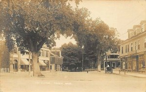 Sharon MA The Square Post Office Storefronts Horse & Wagon RPPC