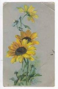 Yellow Daisy flowers on siver background, Signed Klein, PU 1907
