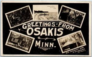1908 OSAKIS Minnesota RPPC Photo Postcard Multi-View Crescent Beach / Cottages