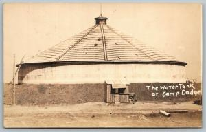Des Moines Johnston Iowa~WWI Era Camp Dodge~The Water Tank~Soldier~c1917 RPPC