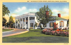 Actor, Movie Star Home Post Card Residence of Bing Crosby North Hollywood, Ca...