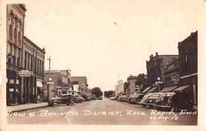 Rock Rapids Iowa Business District Real Photo Vintage Postcard AA12031