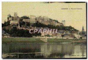 Old Postcard Chinon castle view