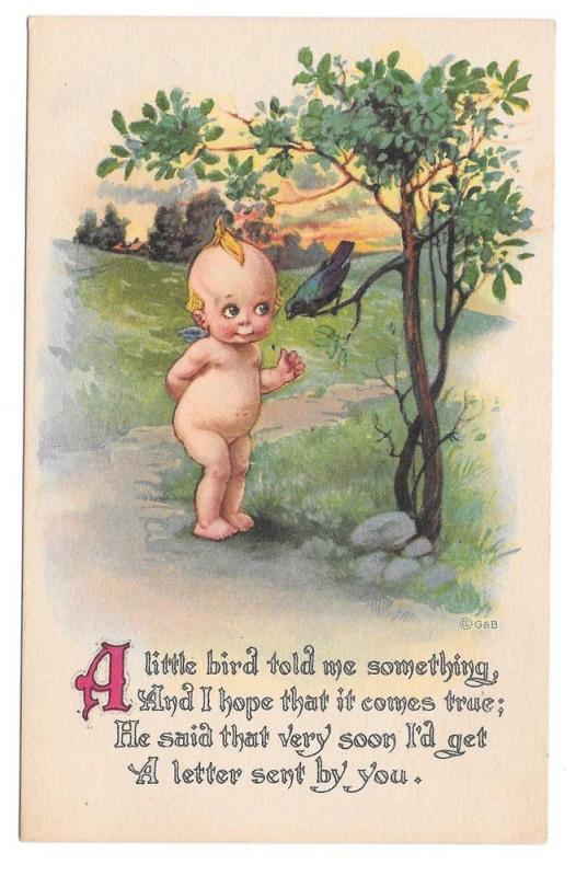 Vintage Kewpie Postcard Gartner & Bender A Little Bird
