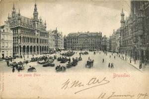 Belgium Brussels Bruxelles La Grande Place animated market 1904 view